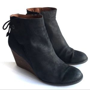 Lucky Brand Yamina Leather Wedge Zip Ankle Booties